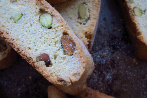 Pistachio Biscotti with Lavender Sugar