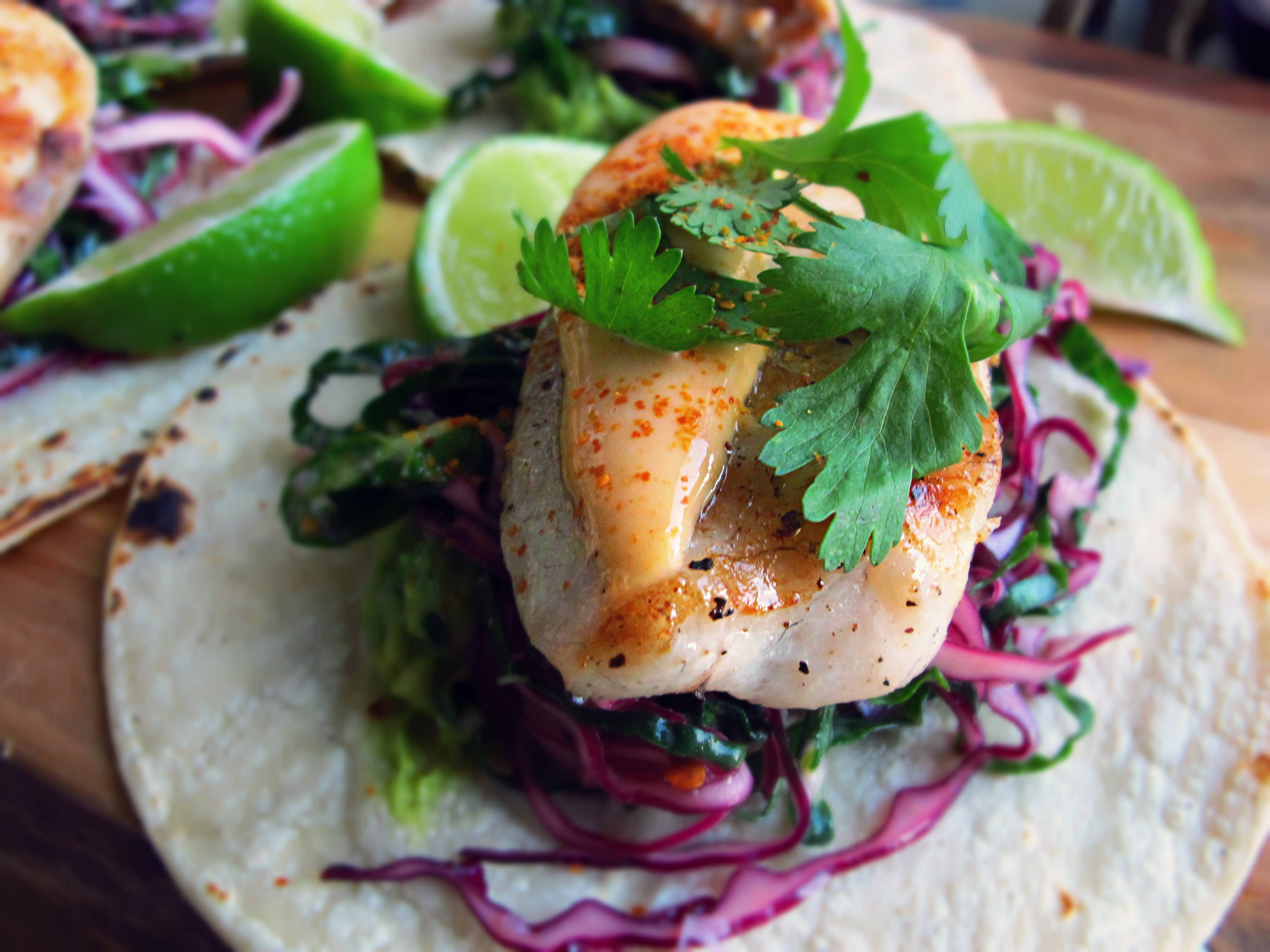 grilled tilapia on a bed of kale and red cabbage slaw