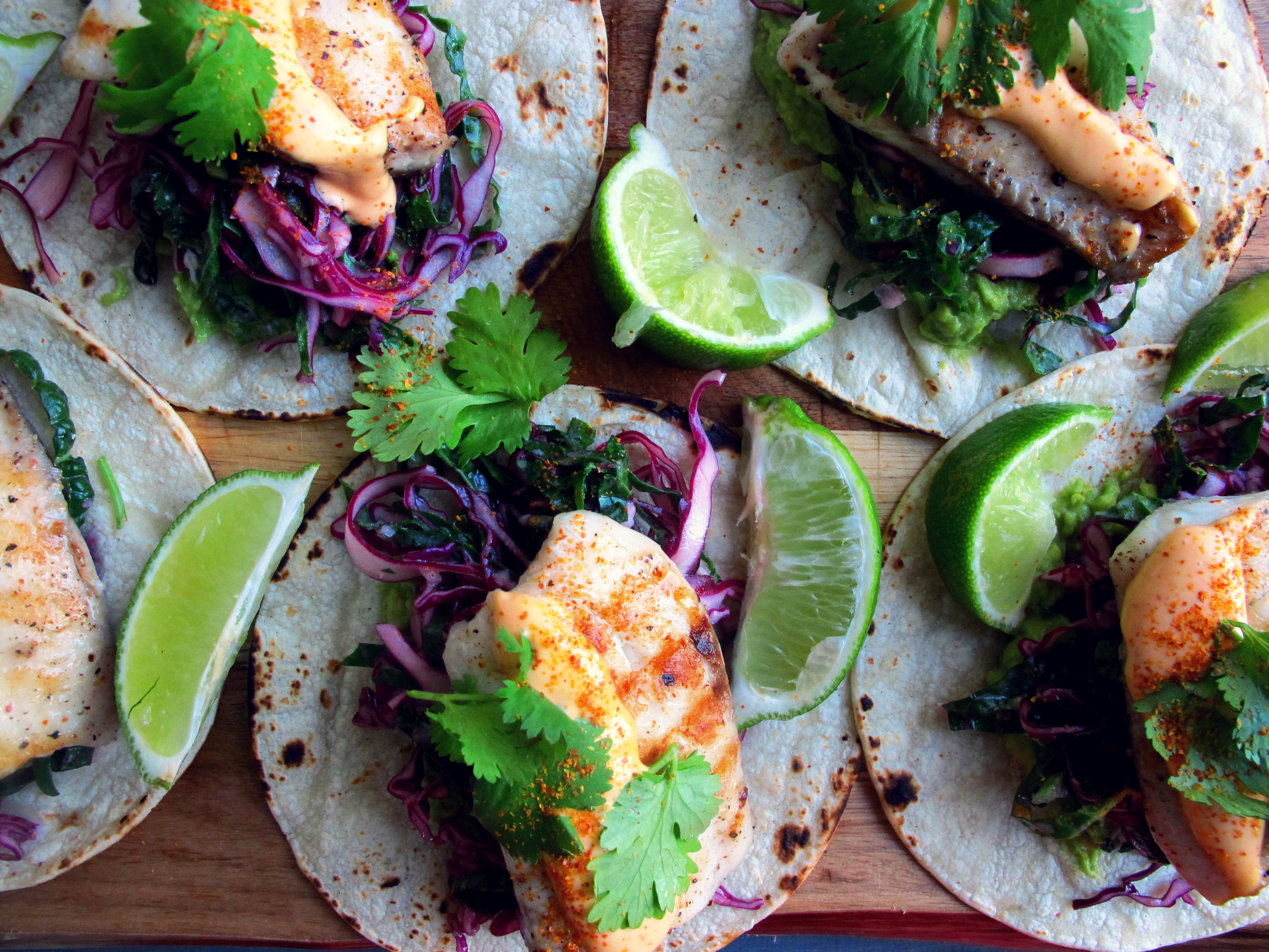 Fish Tacos with an Asian Red Cabbage and Kale Slaw
