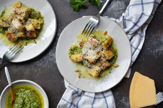Fried Gnocchi with Garlic, Herbs, and Pesto