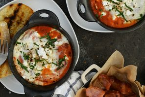 Spicy Baked Eggs with Goat Cheese
