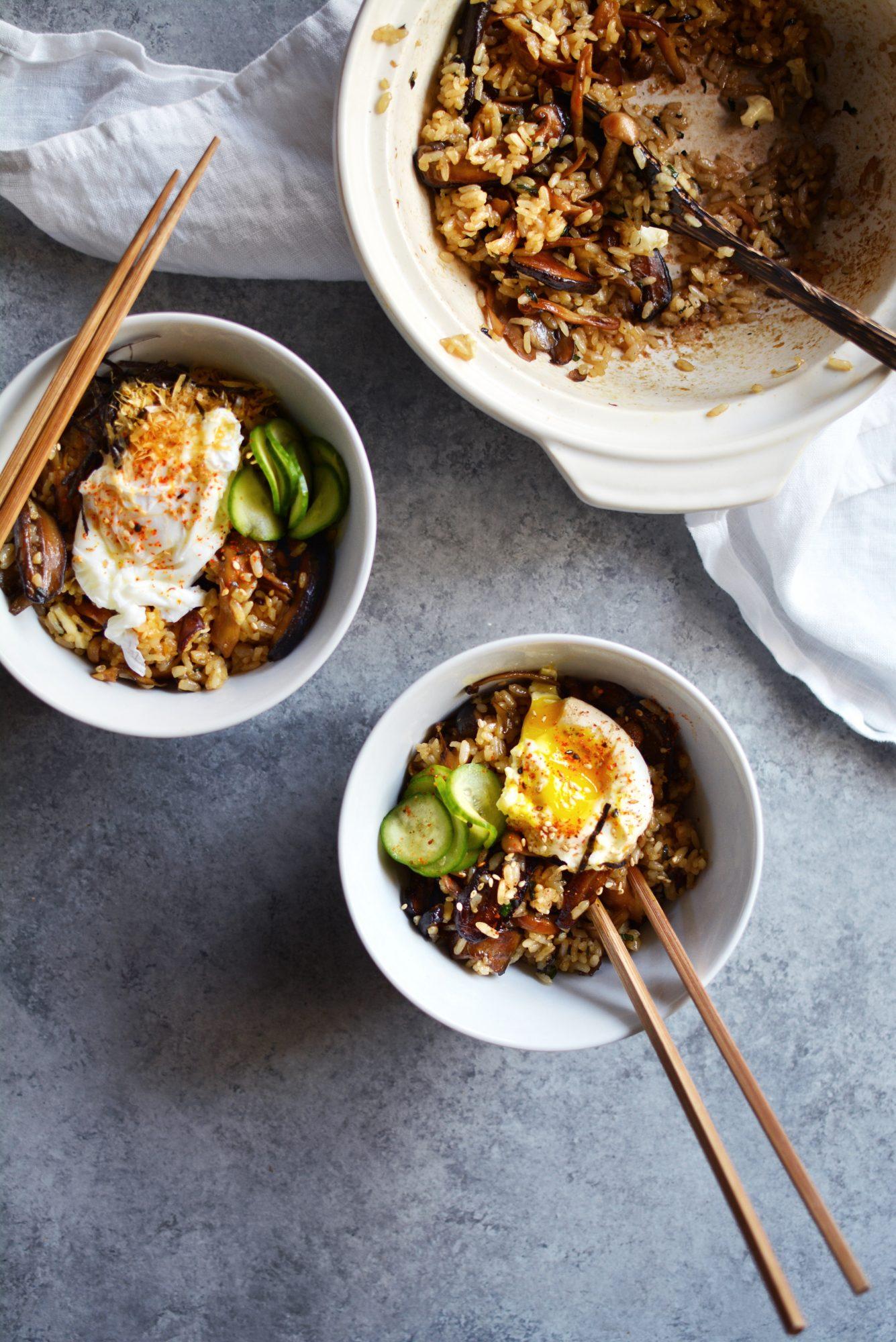Garlic Mushroom Claypot Rice