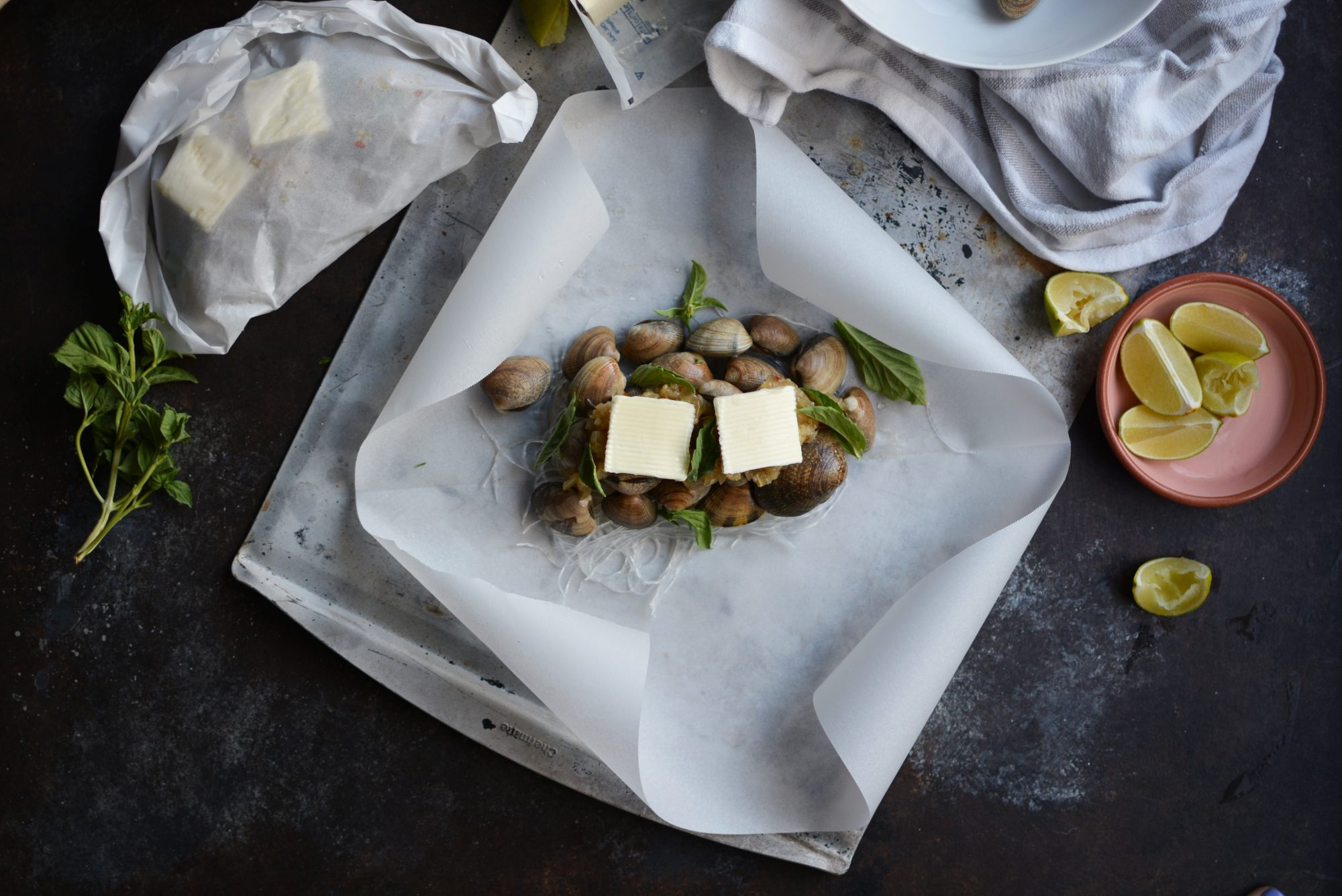Clams and Glass Noodles in Parchment