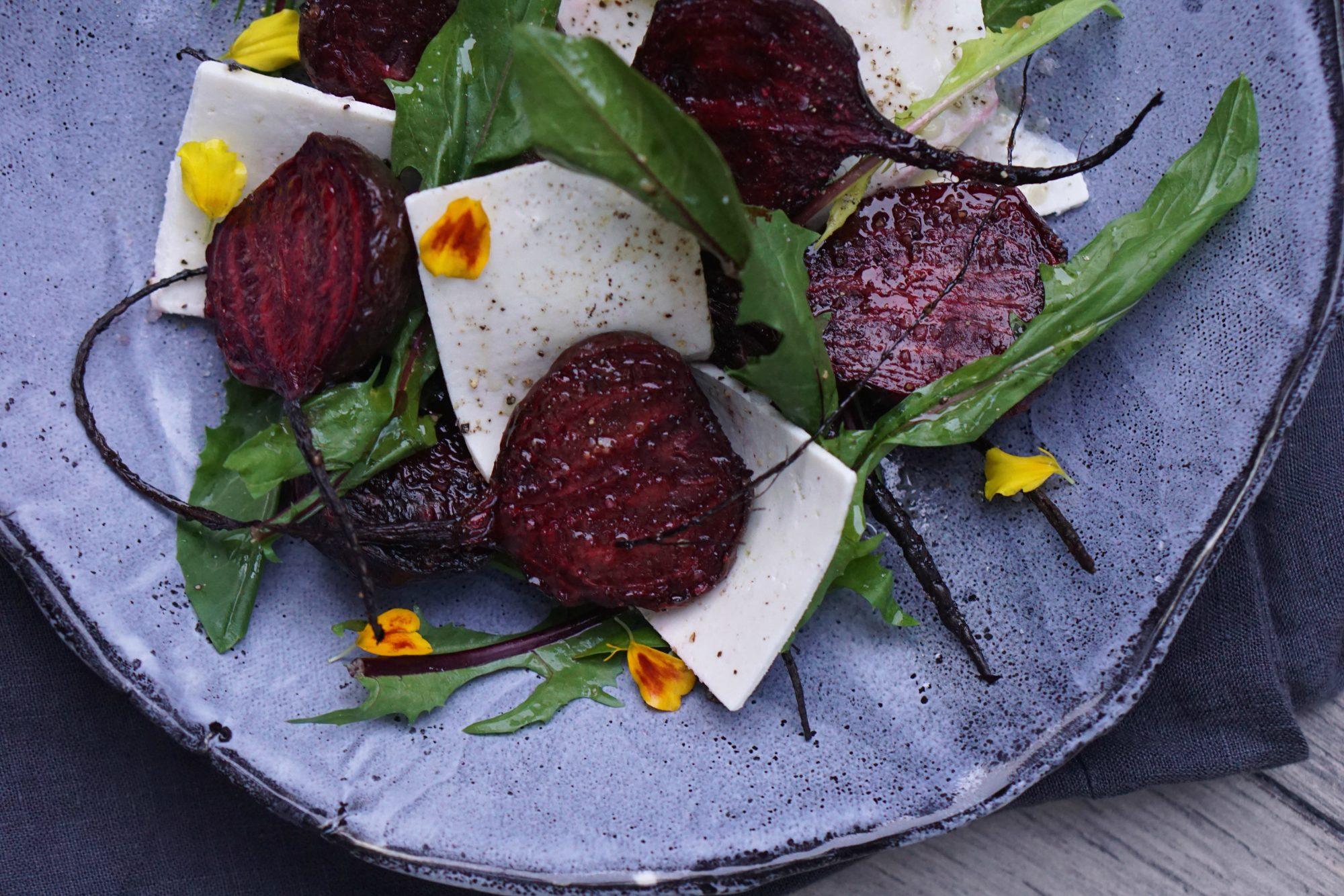 Roast Baby Beets, Dandelion Greens, Ricotta Salata