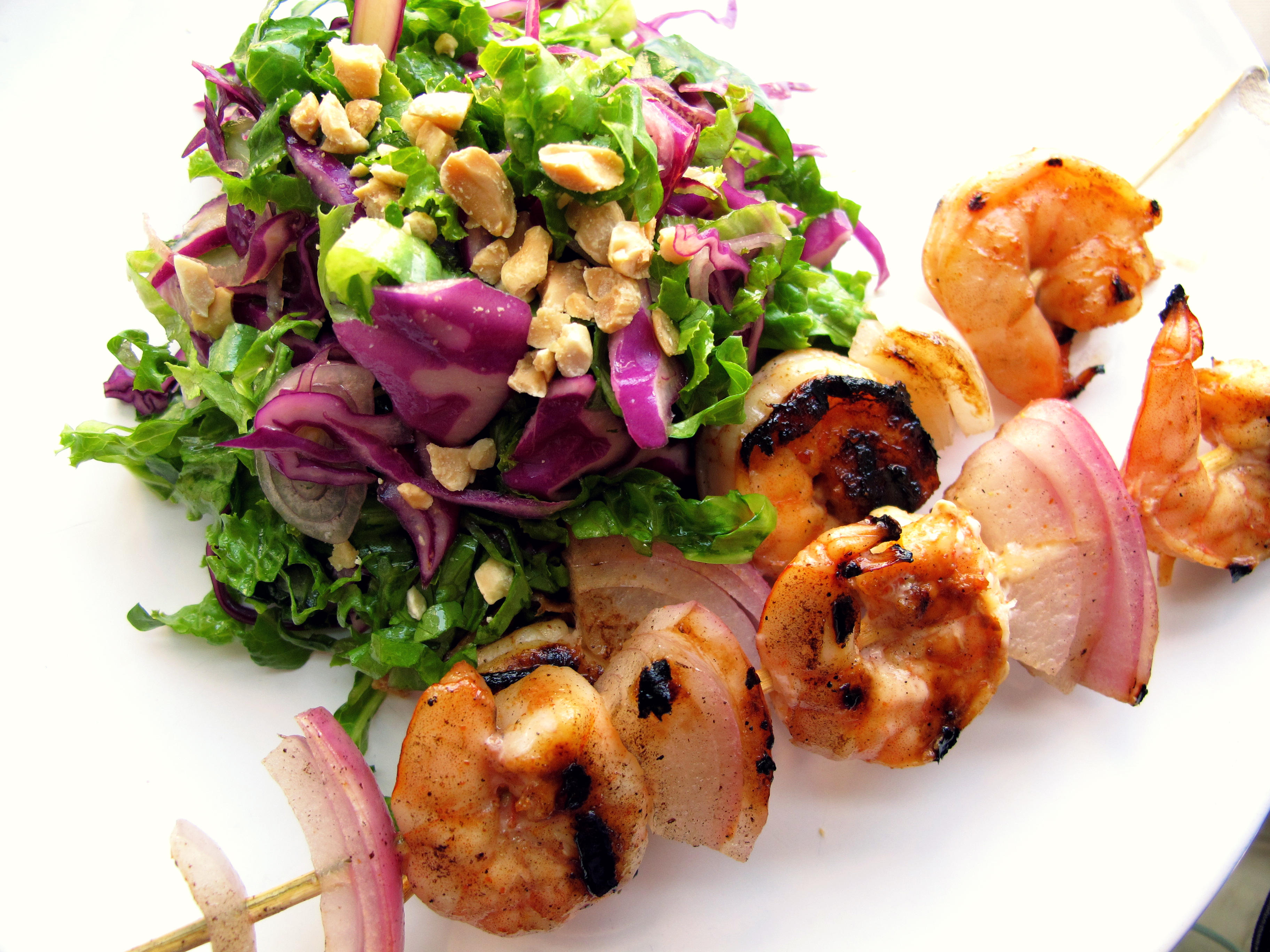 Grilled Maple Syrup Shrimp with Cabbage Salad