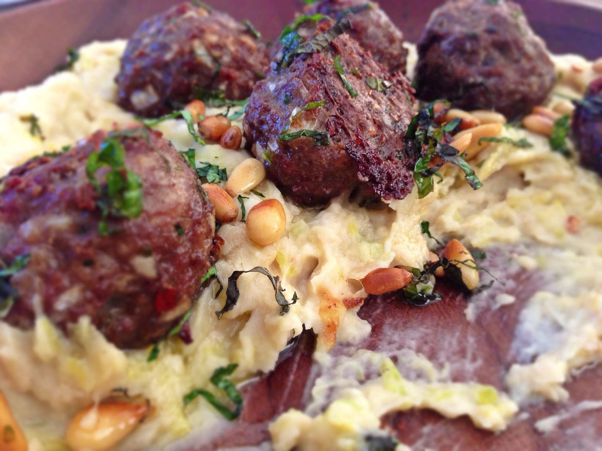 Lamb Kofta Meatballs with Bean Puree