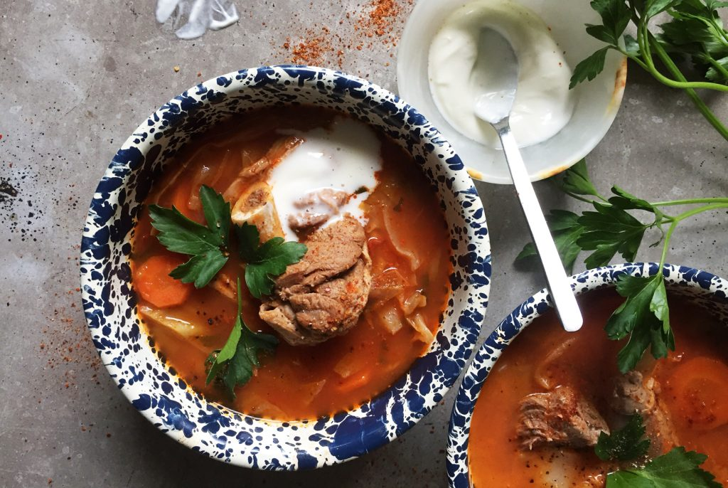 Spicy Tomato Lamb Shank Soup with Cabbage & Rice